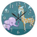 Reloj de los niños de los animales del elefante y