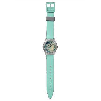 Reloj de los pescados del río de Sumi-e