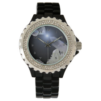 Reloj de los puntos del cristal de cuarzo