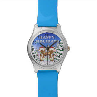 Reloj de los ratones del día de fiesta feliz
