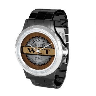 Reloj de madera del logotipo del tiempo de Choppin