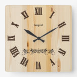 Reloj de madera el   Zazzle del estilo del bloque