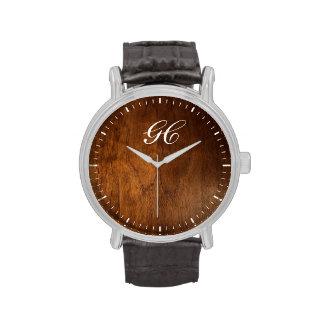 reloj de madera oscuro personalizado de la cara
