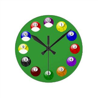 Reloj de mármol de la piscina del fieltro del verd