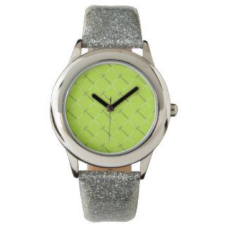 Reloj de mirada tejido chartreuse ligero del