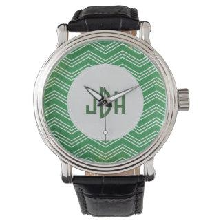 Reloj de moda de encargo verde del monograma de