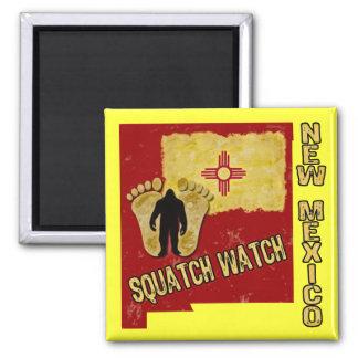 Reloj de New México Squatch Imán Cuadrado