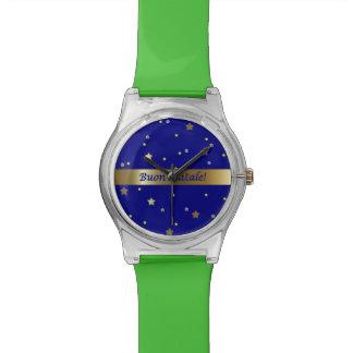 Reloj de oro azulverde de las estrellas del navida