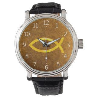 Reloj de oro cristiano elegante del símbolo de los