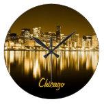 reloj de oro del horizonte de Chicago