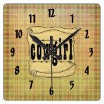 Reloj de papel de la vaquera de la voluta del vint