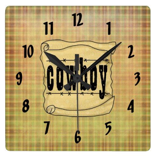Reloj de papel del vaquero de la voluta del vintag