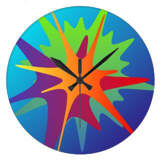 Reloj de pared abstracto colorido del chapoteo