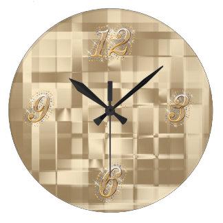 Reloj de pared abstracto de Bling del oro