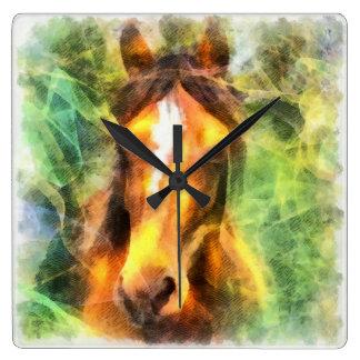 Reloj de pared abstracto de la pintura de la cabez