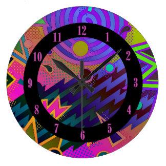 Reloj de pared abstracto de los años 80 retros de