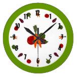 Reloj de pared adaptable con las verduras colorida