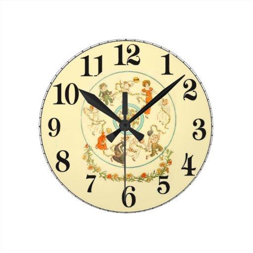 Reloj de pared adaptable de los niños del vintage