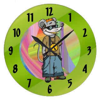 Reloj de pared adolescente del ratón de la cadera