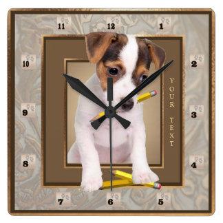 Reloj de pared adornado del oro del perrito de Jac