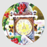 reloj de pared adornado por las hojas santas etiquetas redondas