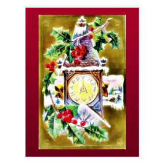 reloj de pared adornado por las hojas santas tarjetas postales