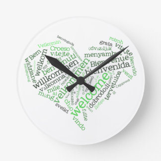 Reloj de pared agradable del corazón (muchas idiom