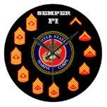 Reloj de pared alistado FI del Cuerpo del Marines