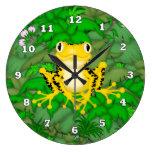 Reloj de pared amarillo de la selva del dibujo ani