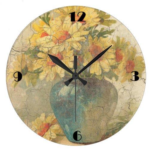 Reloj de pared amarillo de las flores del vintage