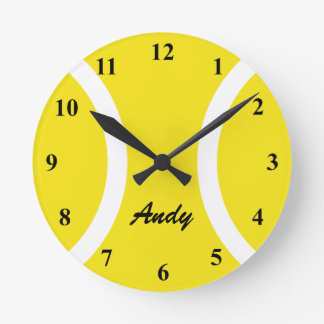 Reloj de pared amarillo personalizado de la pelota