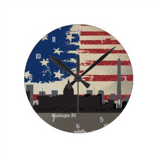 Reloj de pared americano del paisaje urbano de las
