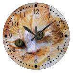 Reloj de pared anaranjado de los amantes del gato