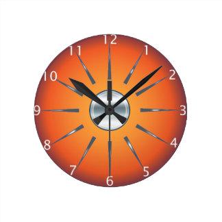 Reloj de pared anaranjado rojo rústico