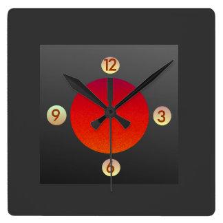 Reloj de pared anaranjado rojo simplista de Grey>