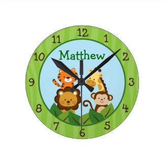 Reloj de pared animal del cuarto de niños de la se