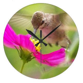 Reloj de pared animal del pájaro floral de la flor