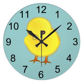Reloj de pared animal del polluelo del bebé