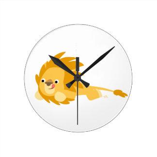 Reloj de pared animoso lindo del león del dibujo a