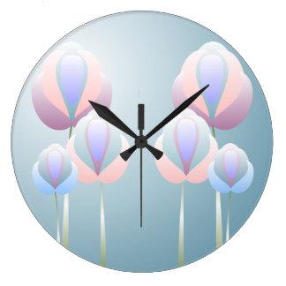 Reloj de pared azul color de rosa rosado de la flo