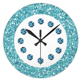 Reloj de pared azul de Bling de la joya