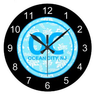 Reloj de pared azul de la ciudad NJ del océano OC
