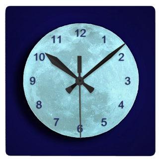Reloj de pared azul de la Luna Llena
