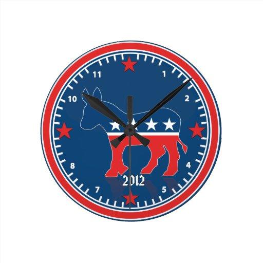 Reloj de pared azul del burro de la elección del f
