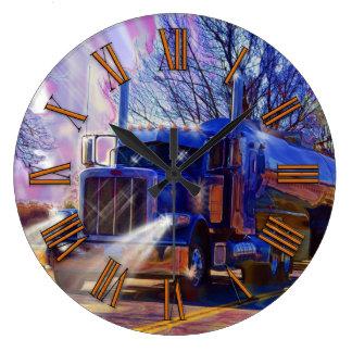 Reloj de pared azul del camión de petrolero del tr