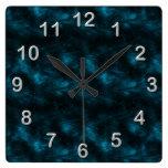 Reloj de pared azul del cuadrado del fractal