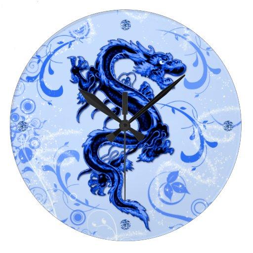 Reloj de pared azul del dragón de la fantasía