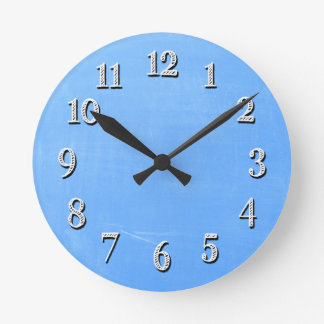 Reloj de pared azul del estilo de la pizarra