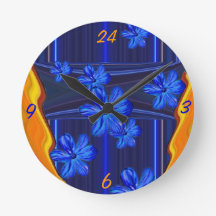 Reloj de pared azul del flor de las luces de neón