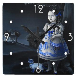 Reloj de pared azul del sauce